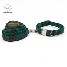 Fshion dark green  dog collar and leash set  matel buckle   dog &cat necklace and dog leash  pet supply