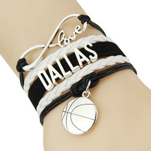 Infinity Love Dallas bracelet Basketball charm leather wrap men bracelets & bangles for women jewelry