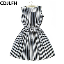 Buy CDJLFH Fashion Casual Summer striped Women Dress Loose Short Sleeve Chiffon Dress Sexy Party Mini Dresses Big Sizes for $3.50 in AliExpress store