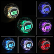 7 Color Glowing Night Light Calendar Alarm Clocks with 6 Nature Sound Transparent Color Changing Countdown Clock Gift