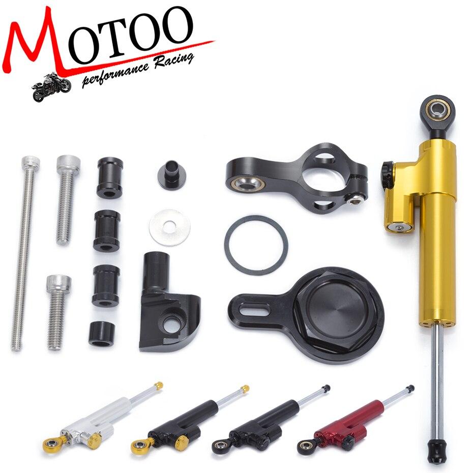 Motoo - Motorcycle Full set CNC Steering Damper Stabilizerlinear Linear Stabilizer Bracket kit  For YAMAHA R1 1998-2005<br>