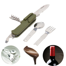 Portable Folding Outdoor Camping Picnic Cutlery Tableware Stainless Steel Fork Spoon Bottle Opener Flatware + Army Green Pouch