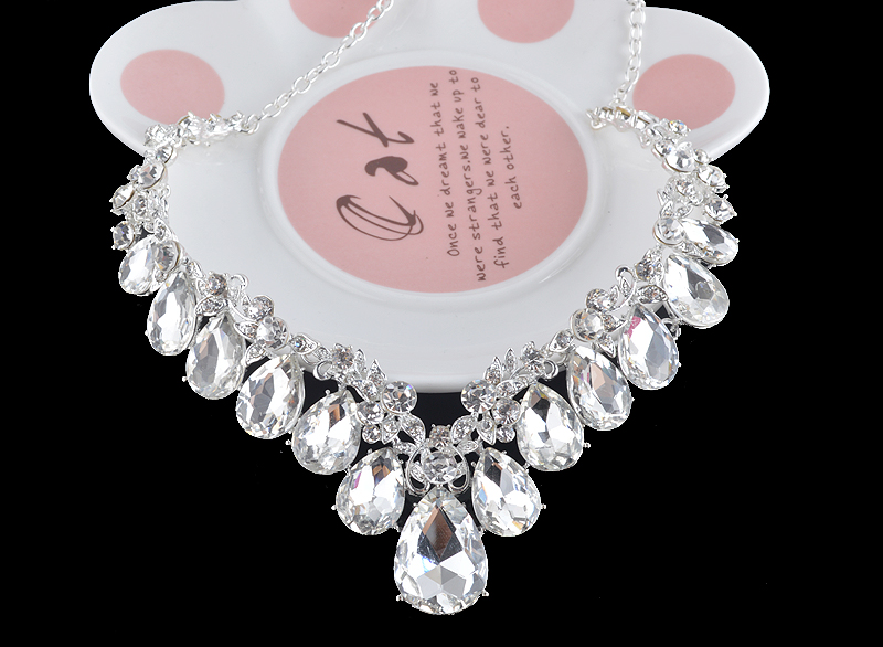High quality wedding jewelry sets bridal silver necklace and earrings crystal rhinestone women party dress jewerly accessories 18
