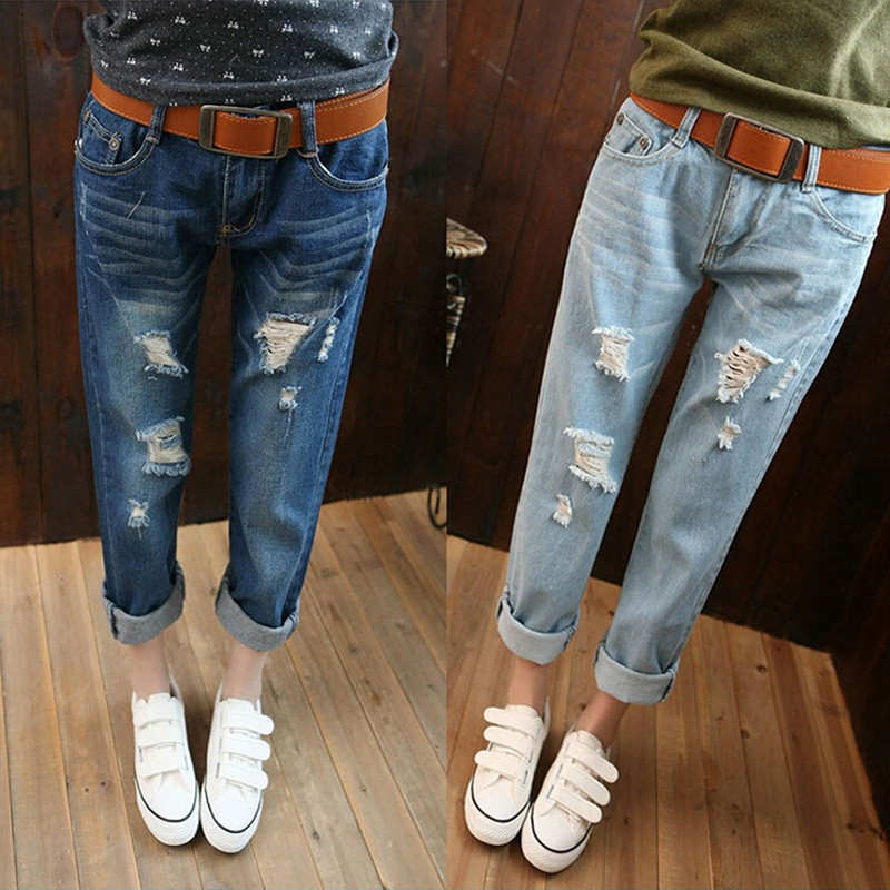Women Jeans 2017 Spring Summer Denim Harem Pants Hole Ripped Female Wholesale Casual Loose Jeans Plus Size 34 Womens TrousersОдежда и ак�е��уары<br><br><br>Aliexpress