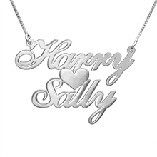 Unique Choker Silver Chain Personalize choker Jewelry Custom Engraved Necklace Private Double Name with Heart 2016 New Design