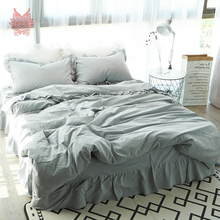 American princess style blue grey 3D laciness decor bedding sets 100% cotton breathable comforter cover set bedskirt type SP4081