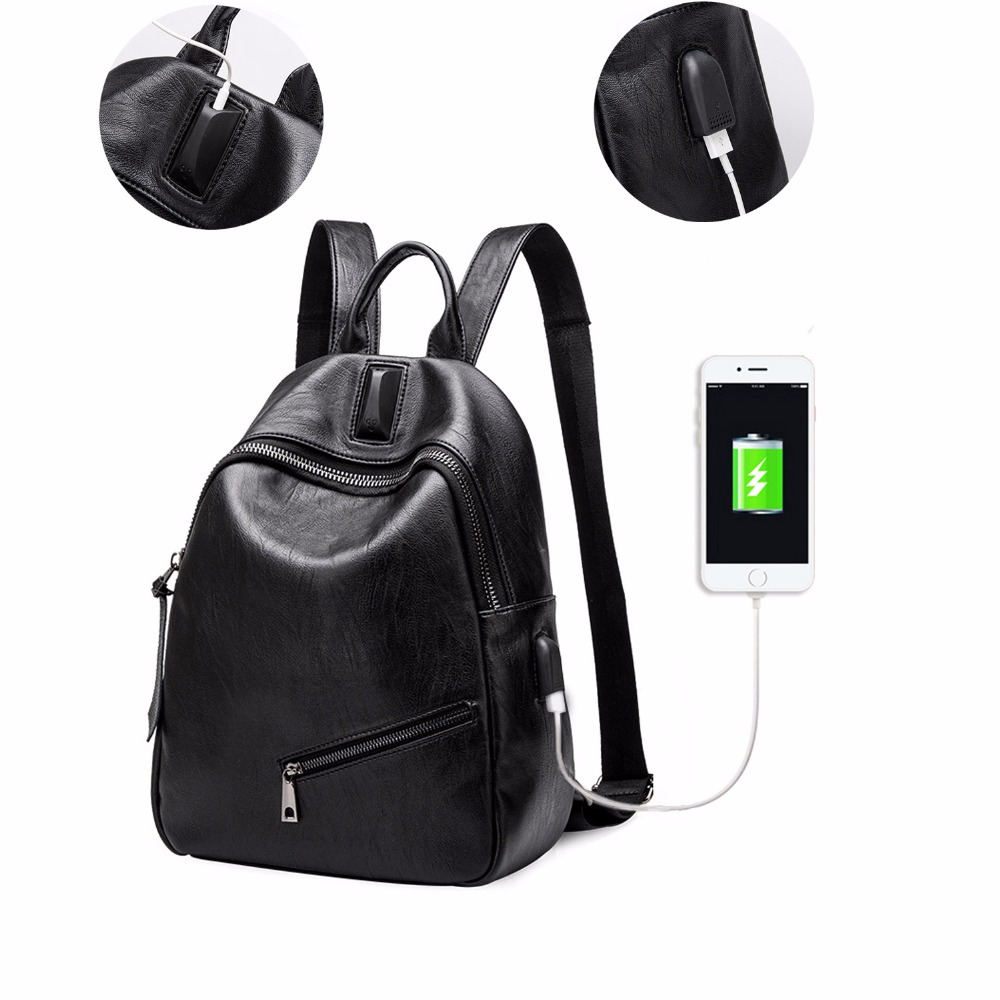 Fashion Women Leather Backpack External Charge Port Backpacks for Teenage Girls Female School Shoulder Bag Bagpack mochila<br>
