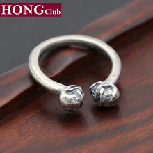 100% Real 925 sterling silver Black Engagement adjustable toe ring Double Skull for men women fine jewelry wholesale G9(China)