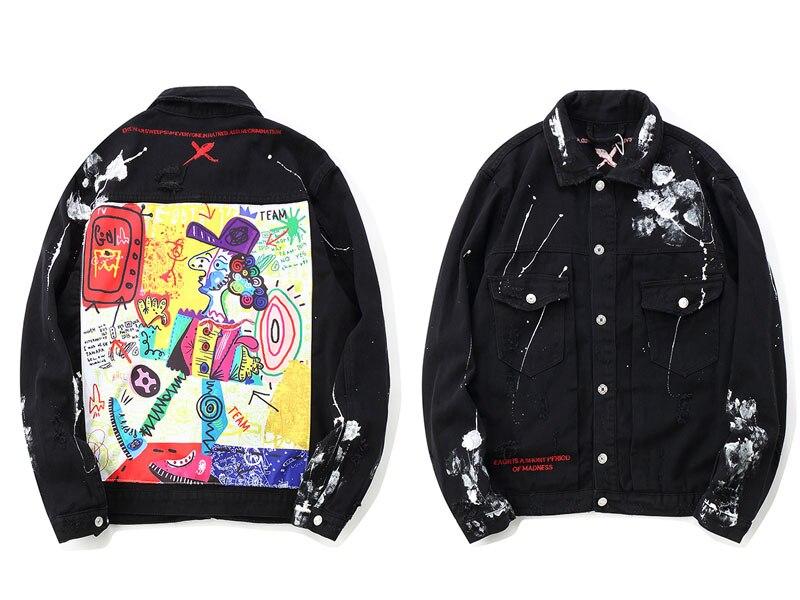 Graffiti Cartoon Ripped Denim Jackets 1