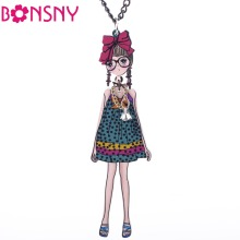 Bonsny Grils French Doll Necklace Acrylic Long Chain Doll Pendant 2017 News Accessories Fashion Jewelry For Women  Styles Arrive