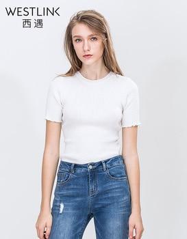 Westlink 2017 Printemps Nouvelle Vague Coupé Bout Rond Pull Base Tricoté Femmes T-shirts Tops Blanc Noir