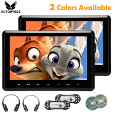 2x 10.1 inch HD 1024*600 TFT LCD Screen Touch Button Headrest Monitor far Car DVD Video Player USB/SD/HDMI/FM IR Headphone Game