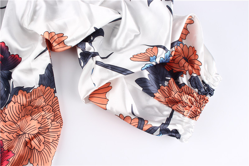 LOSSKY Women V-Neck Sexy Boho Blouse Print Floral Bandages Long Sleeve Blouse Bohemia Ladies Top Shirts Blouses Summer 2018 25