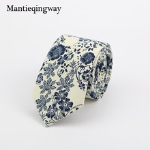 Mantieqingway Vintage Men's Floral Neck Tie Blue and White Cotton Casual Fashion Ties for Mens Wedding Party Flower Neckwear Tie