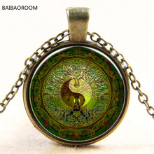 Green mandala time gem of yin and yang pendant necklace silver necklace for Europe new(China)