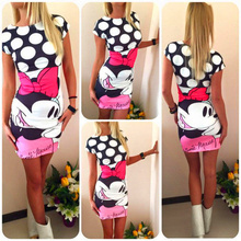 Women Dress 2017 New Fashion Short Sleeve Cotton O-neck Casual Dresses Minnie Miki Package Hip Sexy Dress Vestidos Mickey Mous