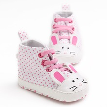 Newborn Baby Boys Girls Cute Cartoon Rabbit Polka Dot Infant Toddler Crib Bebe Girls First Walkers High Top Sneakers Shoes(China)