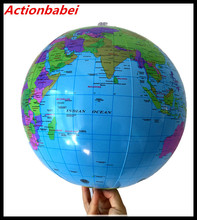 Actionbabei 16 inch Early Educational Inflatable Earth World Geography Globe Map Balloon Toy Beach Ball Play water ball