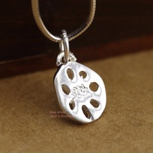 925 Sterling Silver Little Lotus Root Pendant Charm Necklace A2468