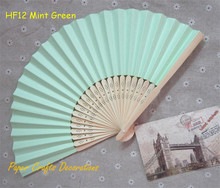 10pcs/lot 8.25inch=21cm Mint Green Folding Paper Bamboo Hand Fans Pastel Outdoor Wedding Favors Party Event Decorations(China)