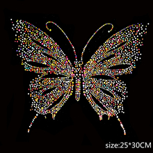 large butterfly design hot fix rhinestone for skirt Heat transfer rhinestone motif Embellishment for garment iron on patches(China)