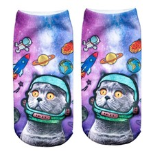 Fashion Summer White Socks Cool Space Cat Patterns Funny Cotton Knitted Ankle Socks For Men/Women/Kids Emoji Socks Stylish Hot