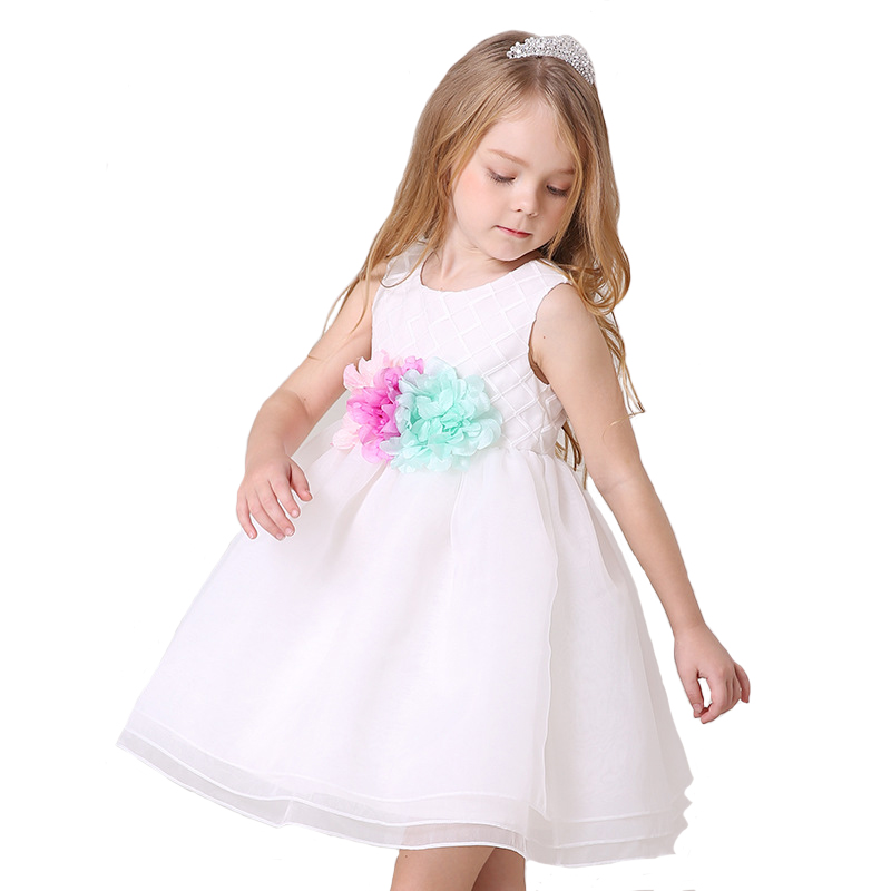 Floral Girl Dress Lace Wedding Dress for Children Sleeveless Princess Ball Gown Kids Rope Cotton Lined High Quality 4y-12y<br>
