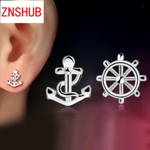 New Fashion Women 925 sterling silver earrings exquisite little mini rudder anchor earrings wholesale jewelry manufacturers