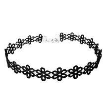 Stylish Jewelry Vintage Black Lace Sunflower Tattoo Gothic Necklace Choker Best Friend Personalized Necklace Jewelry Uzun Kolye(China)