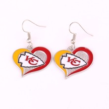 Kansas city chiefs Sports Team Logo Swirl Heart Shape French Hook Style enamel single-sided football Charm Dangle Earring Set
