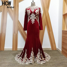 Long Sleeve Burgundy Mermaid Evening Dress 2017 High Quality Lace Appliques Velvet Long Occasion Dresses Arabic Evening Gowns(China)