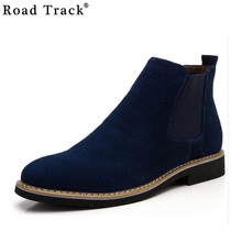 Road Track Chelsea Boot Men Suede Hombre Martin Boots Low Heel Leather Ankle Boots Vintage Sewing Thread Britain Botas XMG0114-5(China)