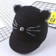 Baby Hats Cute Cat Shape Plus Velvet Newborn Photography Solid Baby Cap Winter Hat Girl Toca Infantil(China)