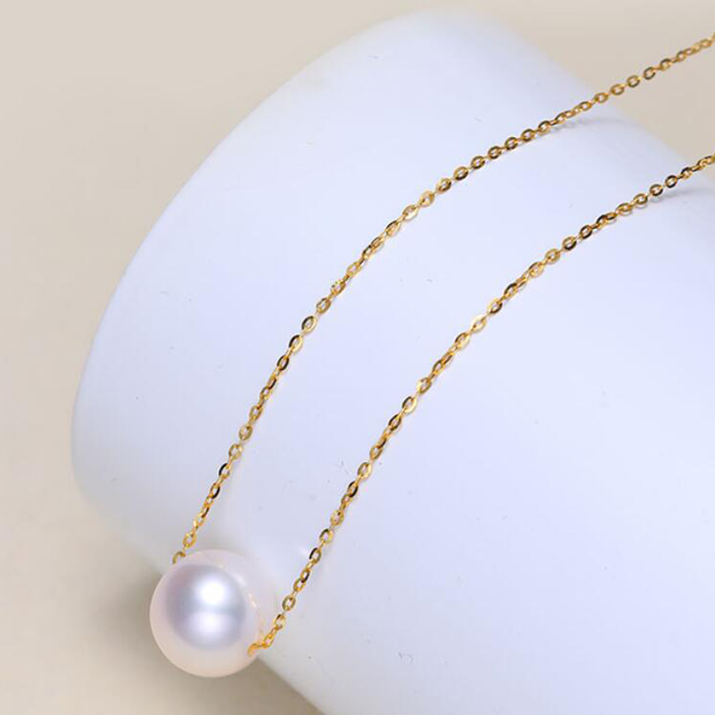 18k AU750 Gold necklace lucky round pearls pendant choker for women girls Mum lover high luster pearls color diameter optional (3)