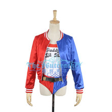 Movie Harley Quinn Cosplay Costume Custom Made Black Red Jacket Shorts T-shirt Belt Sext Outfit Clothing For Adult(China)