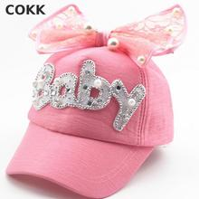 COKK Brand New Summer Children Kids Pearl Flower Bow Peak Cap Baseball Cap Hat For Girls Children Adjustable Snapback Casquette