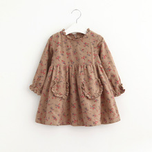 Cute GIrl Print Dress 2016 Autumn Kids Flowers Dresses Elegant Baby Clothing Girl High-grade Childrens Clothes Wholesale