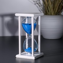 30/60 Minutes Crystal Transparent sand Hourglass Sandglass Timer With Black Wooden Holder Home Decor Free shipping(China)