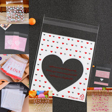 100pcs 10*13cm White Pink Red Heart Love Only Cookies Resealable Gift Candy Food Beans Cookie Handmade Self Adhesive Packing Bag