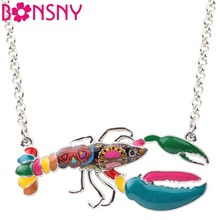Bonsny Statement Enamel Metal Crawfish Shrimp Lobster Necklace Pendants Chain Fashion Ocean Animal Jewelry For Women Accessories