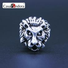 CasaPandora Fashion European Silver-colored Head Of Male Lion The Lion King Fit Bracelet Charm DIY Jewelry Making