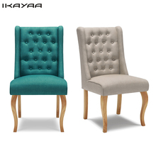 iKayaa US UK FR Stock Antique Tufted Dining Chair Linen Fabric Accent Chair Upholstered Side Living Room Chair W/ Rubber