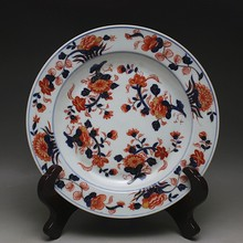 chinese vintage home decor Outline in gold Blue - white -red Color Flowers plate (3 style) crafts collection cooking tools