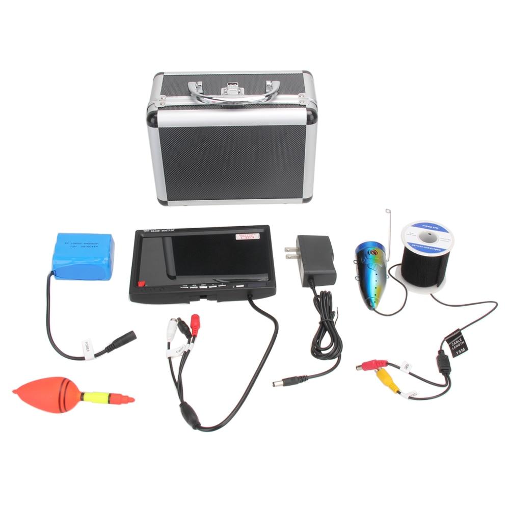 15M 1000TVL CMOS Sensor Underwater Fishing Video Camera Monitor 7 HD Color Fish Finder Video Recorder DVR LED Lights ISP<br><br>Aliexpress