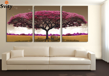 3 piece art oil canvas romantic wall art tree picture canvas painting Pink tree painting Large wall pictures for living room(China)