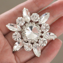 50mm Flower Shape crystal Sew On Rhinestone With Claw Setting Silver Back Fancy Stone Rhinestone applique Buttons For Garments(China)