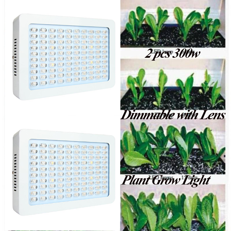 2PCS 300W Dimmable LED Plant Grow Light Panel 100x3W IR UV Indoor Greenhouse Hydroponics Horticulture Potted Plants Growing Lamp<br><br>Aliexpress