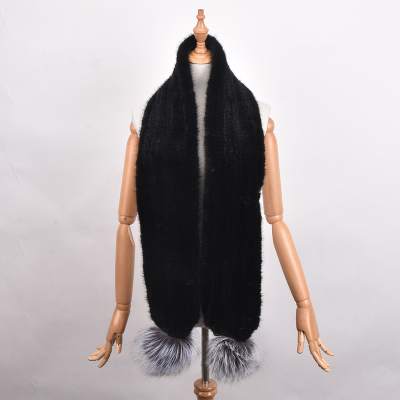 Hand Knitted Black Mink Fur Scarf Fashion  Wraps Woven Women Neck Warmer Luxury Mink Fur Shawl Winter Scarf