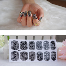 Full Nail WRAPS Art adhesive Sticker False Nails Foil decals Manicure Decor Tools Cover design lace red black roseo flower(China)