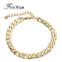FANHUA Fashion Pulceras Mujer Concise Gold-Color Chain & Link Bracelets for Women